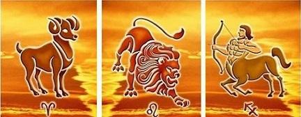 огън, огнен знак, огнени зодии, Стрелец, Лъв, Овен